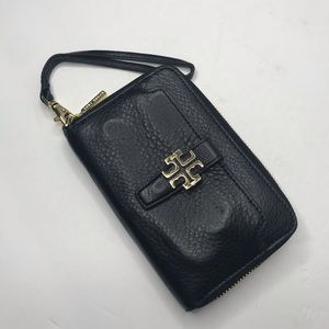 Tory Burch black peddled leather wristlet clutch